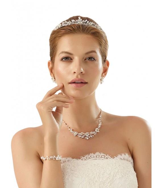 Collier avec boucles d'oreilles et bracelet avec cristaux N27-N28 - The Beautiful Bride Shop