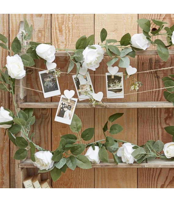 Guirlande de roses blanches décoratives | Rustic Country