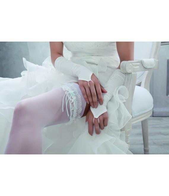 Jarretière cristaux Swarovski crème et bleue 5933 - The Beautiful Bride Shop