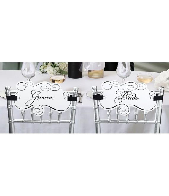 Bride & Groom Ecritaux pour chaise wf679 - The Beautiful Bride Shop