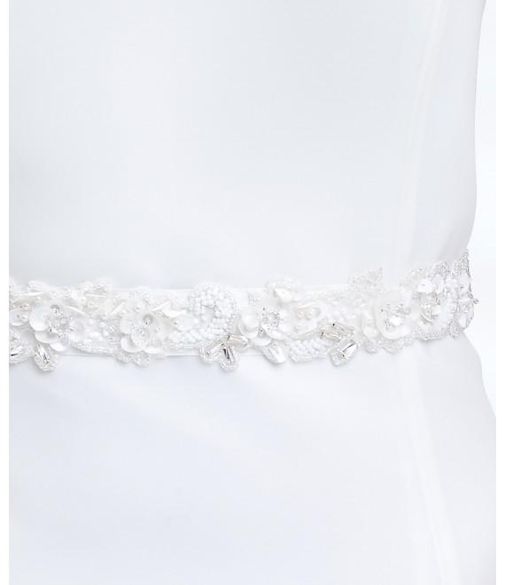 Satijnen centuur met kant en siersteentjes BBCPA5 - The Beautiful Bride Shop