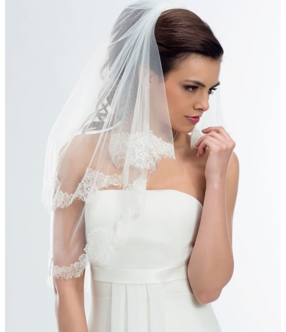 Voile à 2 couches avec une élégante bordure S169 -  The Beautiful Bride Shop