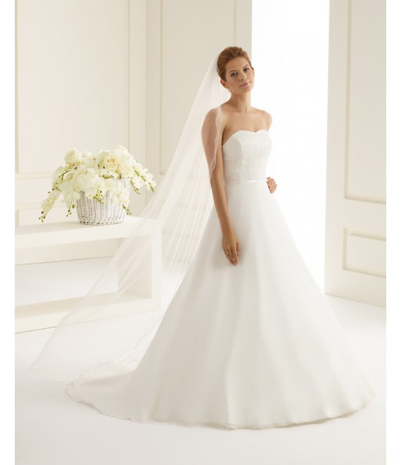 One-layered veil with lock edge S216 | Bianco Evento