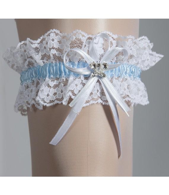 Jarretière pour la Mariée Blanc et Blue - The Beautiful Bride Shop