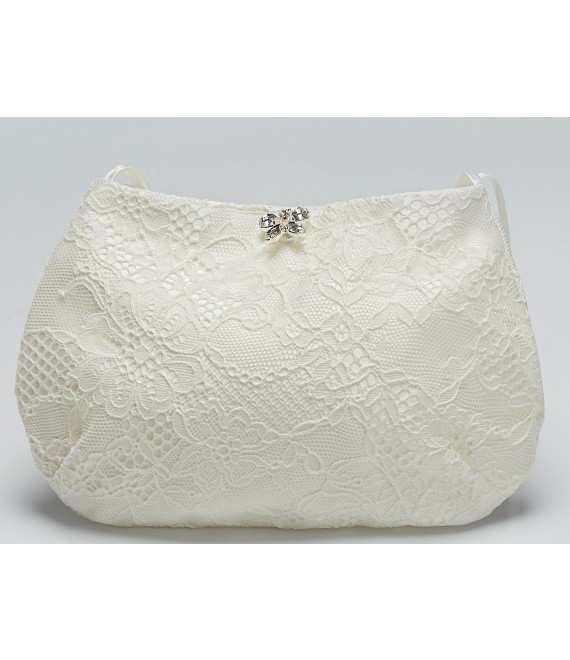 Pochette de mariée en dentelle avec papillon T14 - The Beautiful Bride Shop