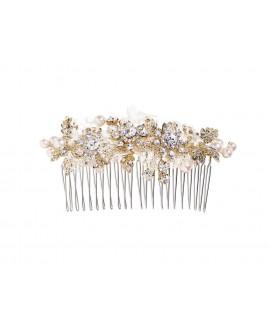 Peigne pour la Mariée avec perles, strass et dentelle