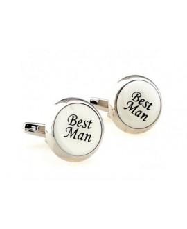 Boutons de manchettes blanches Best Man