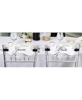 Bride & Groom Ecritaux pour chaise