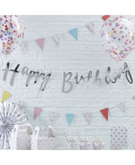 Guirlande d'argent Happy Birthday | Pick & Mix