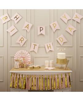 Guirlande rose Happy Birthday | Pastel Perfection