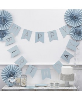 Guirlande Bleu Happy Birthday | Pastel Perfection