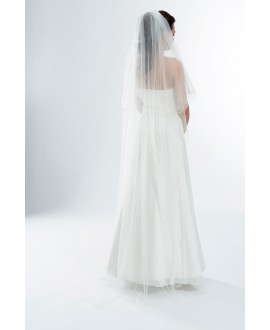 Two layered veil with corded edge S165-White