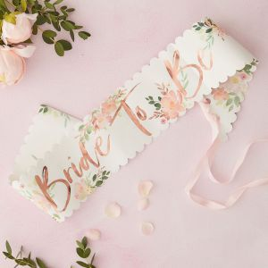 Ginger Ray FH-207 Floral Hen Bride To Be Ceinture