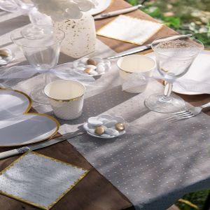 Santex Chemin de Table en Or Blanc