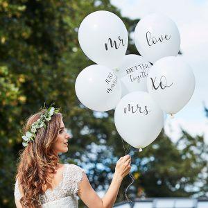Ginger Ray BR-374 Botanical Wedding Ballons Blanc
