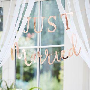 Ginger Ray BR-350 Botanical Wedding Just Married Guirlande