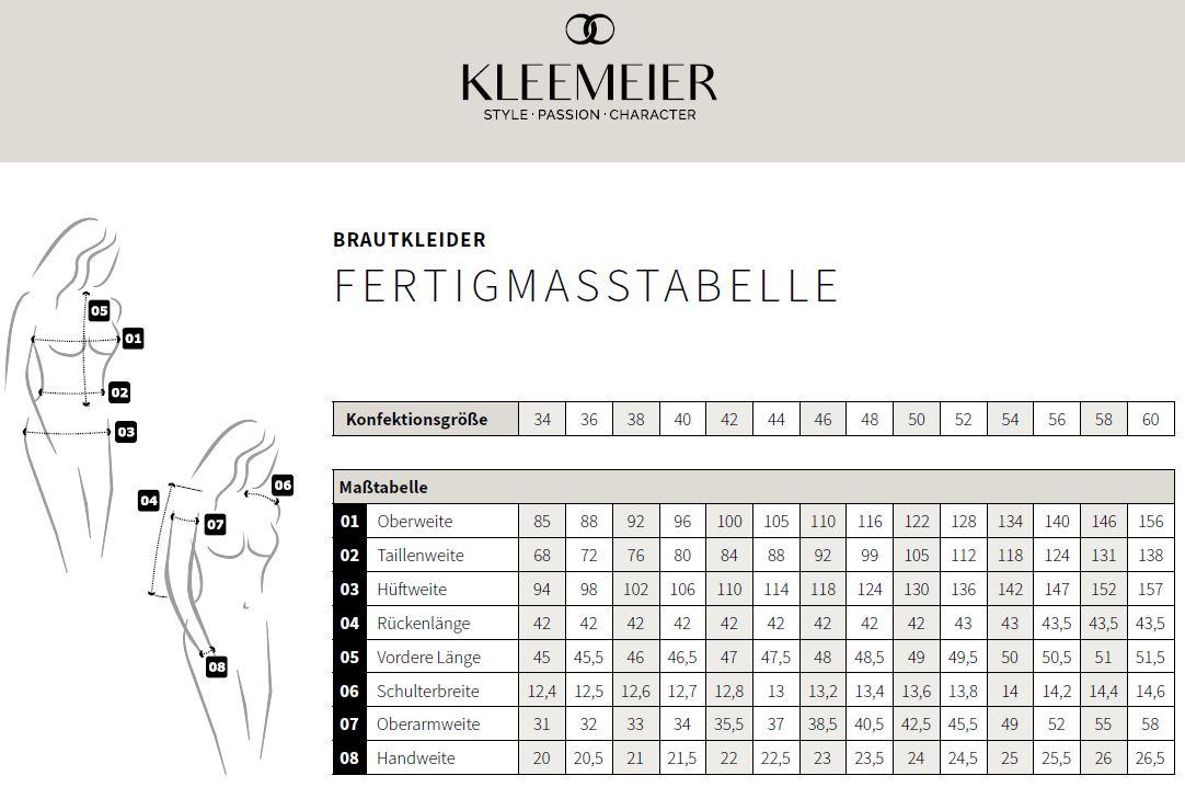 Tableaux des tailles Lingerie de mariage Kleemeier
