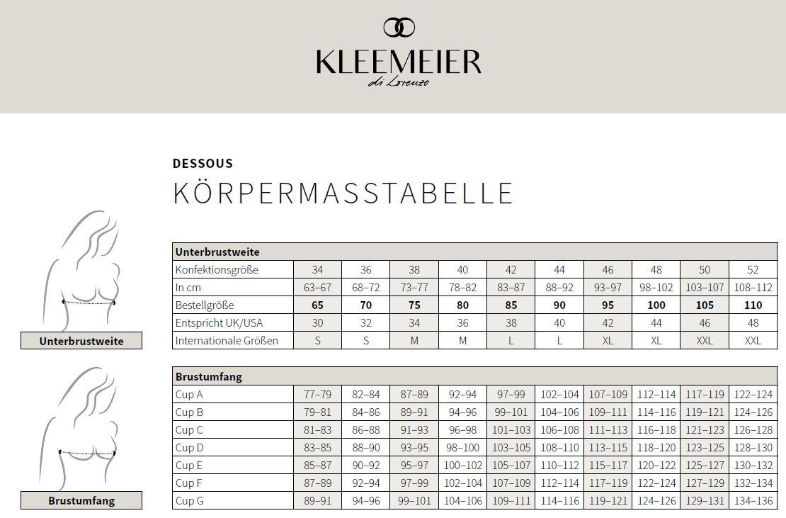 Tableaux des tailles Robes de mariage Kleemeier